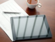 Modern business workplace with digital tablet
